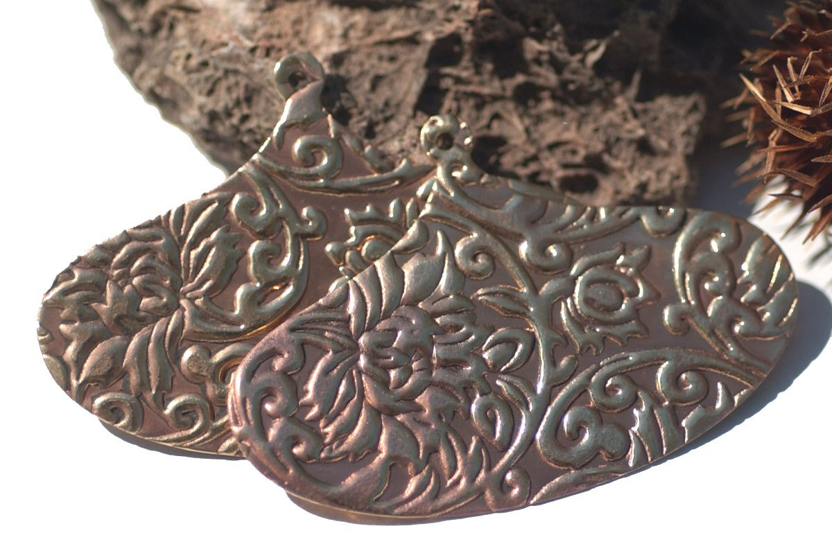 Bronze 26g Hoops Arabic Shape in Lotus Flowers Texture Cutout Blank for Metalwork Stamping Texturing