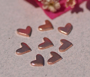 Copper Lopsided Heart 7mm x 6mm Metal Blanks Shape Form for  Enameling Stamping Texturing Blank - 6 pieces