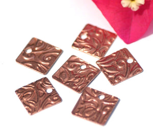 Copper 26g 12mm Blank Square Lotus Flowers Texture Cutout for Blanks Enameling Stamping Texturing - 8 pieces