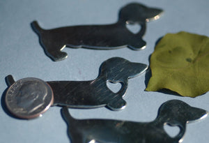 "Brass or Bronze Doxie Blank ""Star"" Dog 20g Cutout Metalworking Jewelry Making Stamping Texturing Jewelry Blanks - 4 pieces"