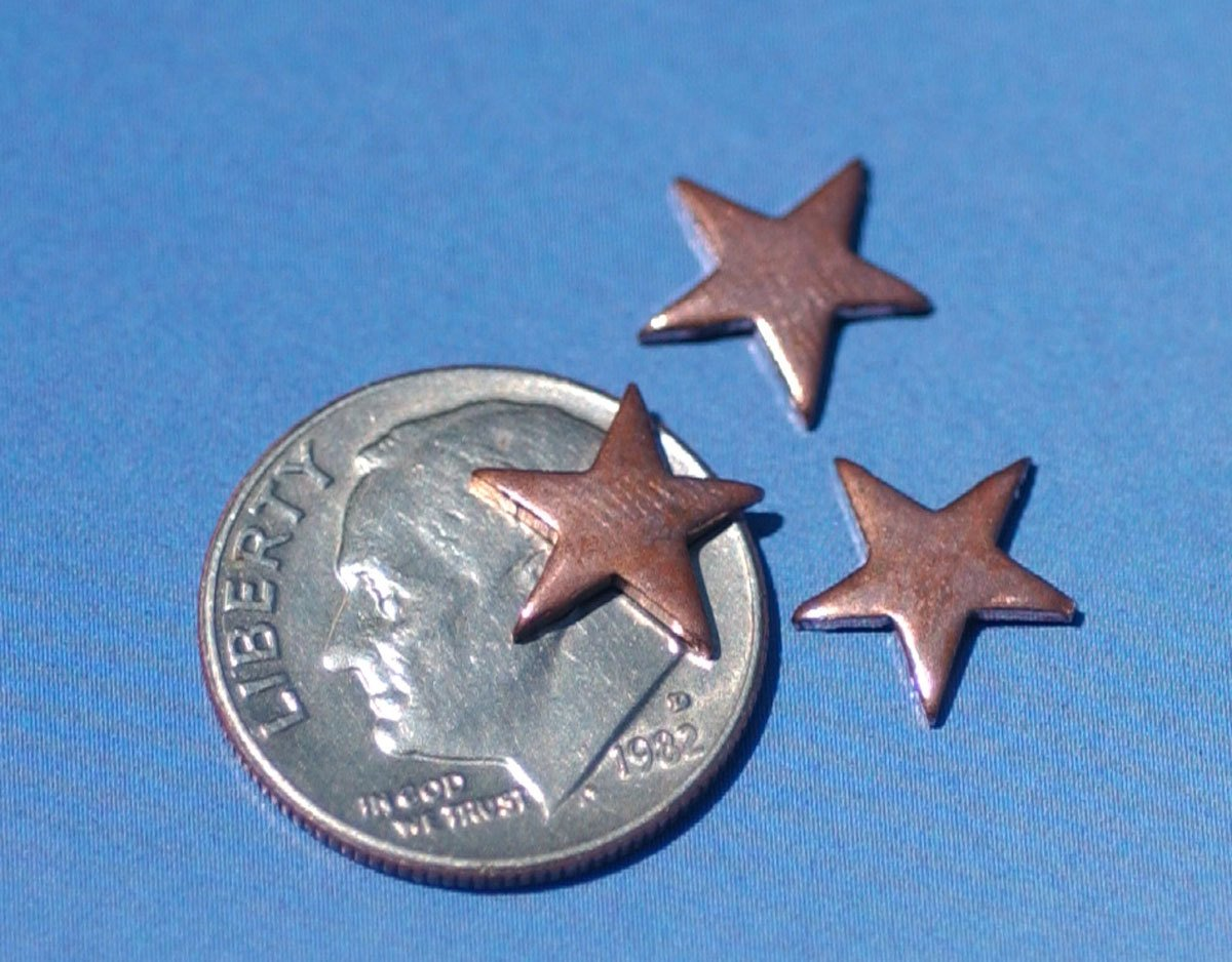 Copper Blank Tiny Twinkle Stars 10mm for Enameling Stamping Texturing Soldering Blanks -8 pieces