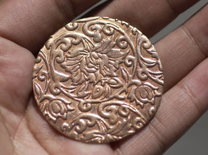 Buy Copper Jewelry Disc 42mm in Pattern 20G for Enameling Soldering Texturing, Metal Supplies - 3 Pieces online
