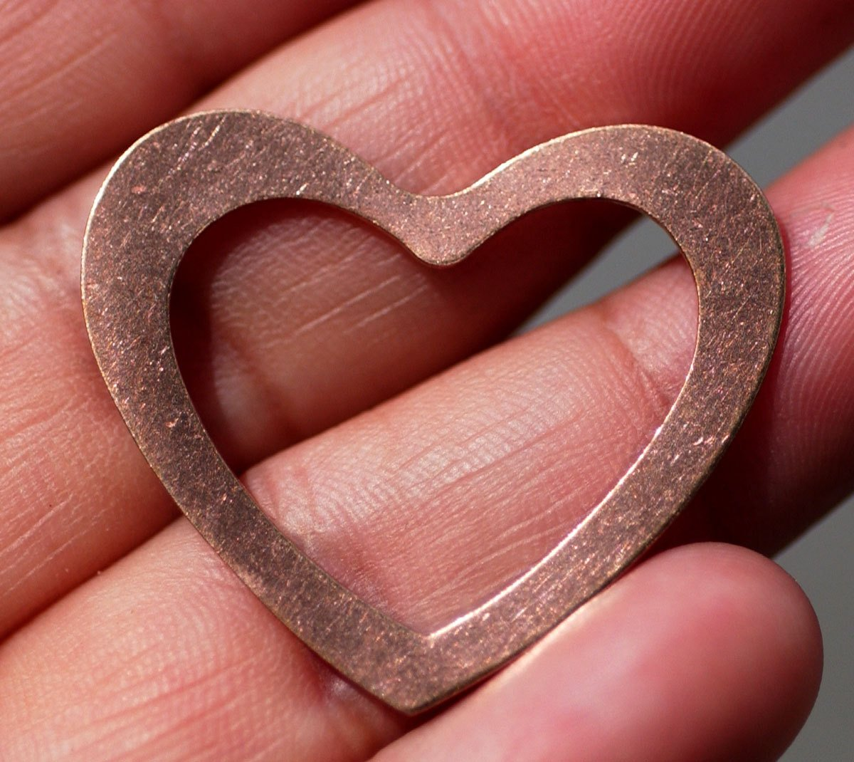 Copper or Nickel Silver Classic Heart in Heart 30mm x 33mm 24g Blank Frame Cutout for  Enameling Stamping Texturing Soldering Blanks
