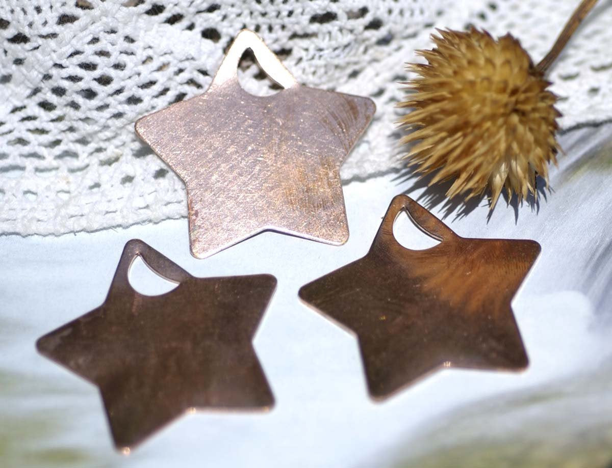 Copper or Brass or Bronze or Nickel Silver Star with moon Blank 24g 36mm for Enameling Stamping Texturing Soldering Pendant Jewelry Making