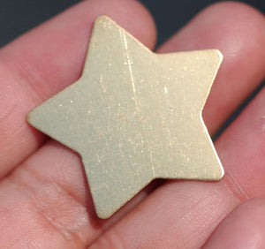 Brass or Bronze Star 24g 30mm Cutout for Blank Metalworking Stamping Texturing Soldering Blanks