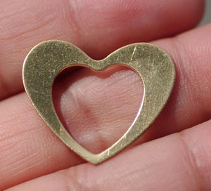 Brass or Bronze Classic Heart in Heart 24.5mm x 21mm 24g Blank Frame Cutout for Metalworking Stamping Texturing Soldering Blanks - 5 pieces