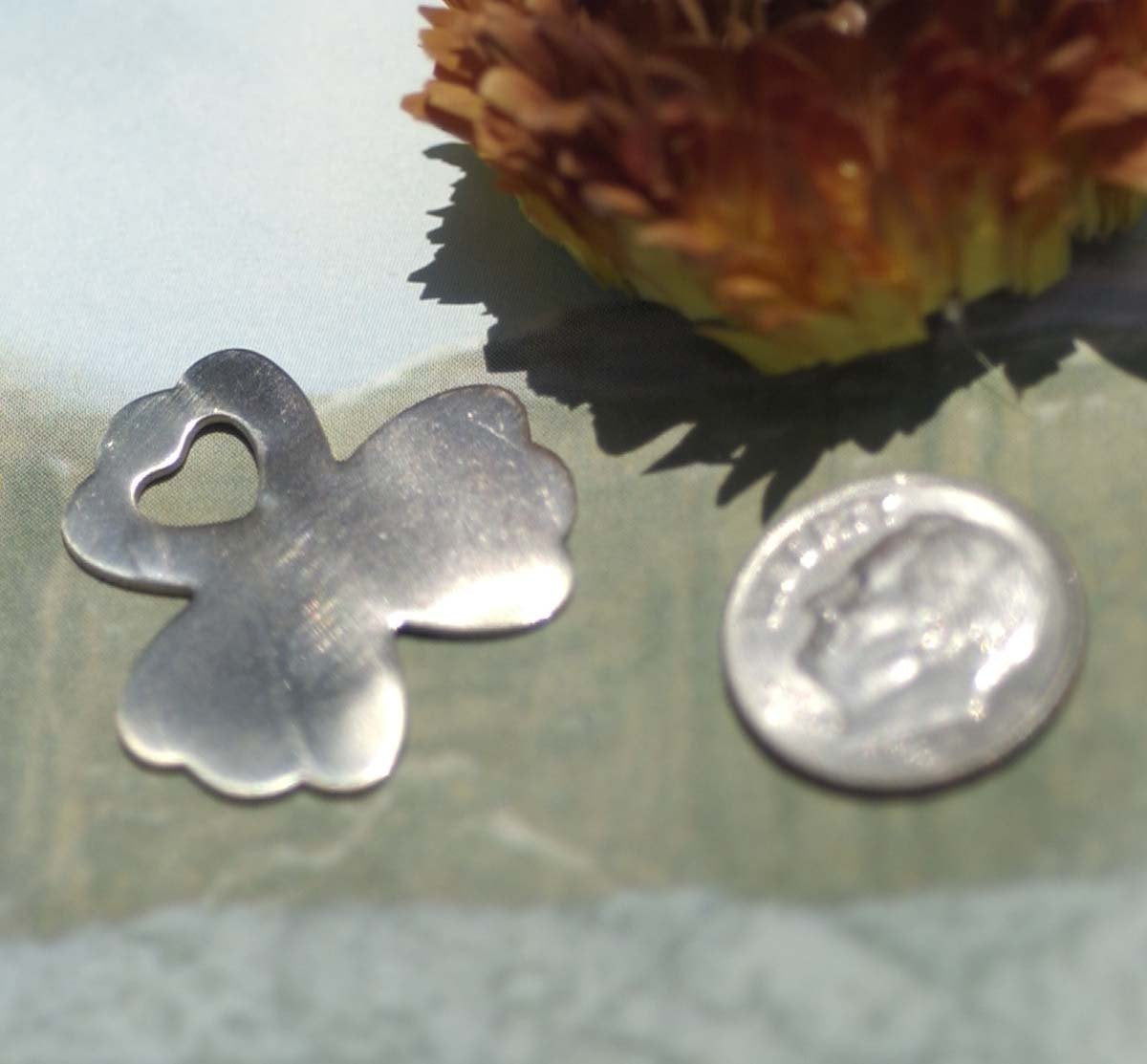 Nickel Silver Clover Flower with Heart Blank for Metalworking Stamping Texturing Blanks Soldering