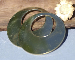 Variety of Metal Hoops Blanks 45mm Offset Circle, Jewelry Components, Metal Supplies, Handmade - 4 Pieces