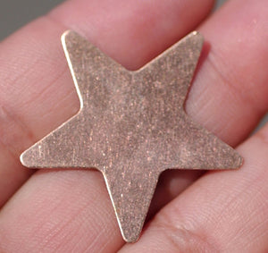 Copper or Nickel Silver Star 30mm 24g Cutout Blanks for Enameling Metalworking Soldering Stamping Texturing Blank - 5 pieces