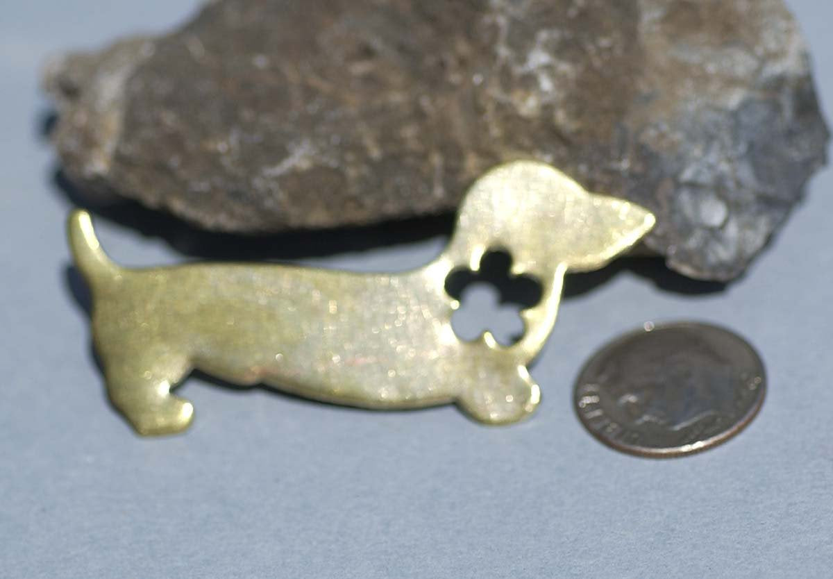 Brass or Bronze Doxie Blank Dog 20g with Flower Cutout Metalworking Stamping Texturing Jewelry Blanks