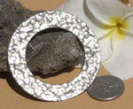 Nickel Silver Hammered Blank Donut 45mm Cutout Shape for Metalworking Soldering Stamping Blanks - 2 Pieces