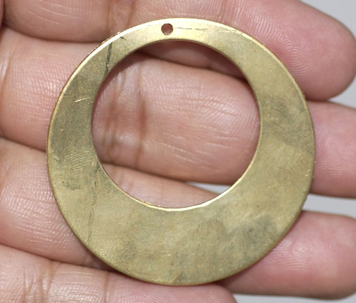40mm Bronze Hoops Blank  for Earrings or Pendant Offset Circle with Hole for Metalworking Stamping Texturing, Jewelry Components -4 pieces