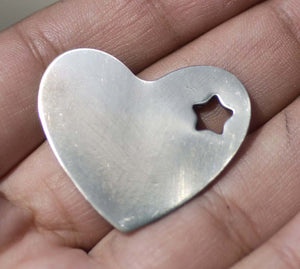 Nickel Silver Heart with Star Classic Blanks 30mm x 33mm 22g Shape Cutout for Stamping Texturing Soldering Jewelry Making Blank - 4 pieces