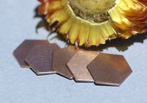Copper Hexagon 20g 12mm Blanks Cutout for Enameling Stamping Texturing Soldering Metalworking Blank