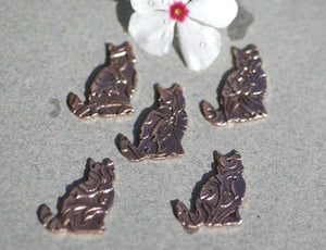 Copper Cats Shape in Lotus Flowers Texture Blank 18mm x 15mm for Enameling Stamping Texturing Blanks