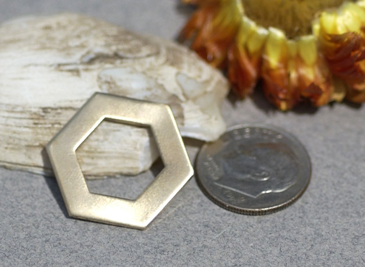 Bronze Hexagon Blank 20g 20mm Washer Blanks Cutout for Stamping Texturing