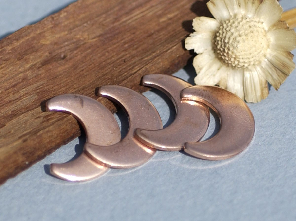 Copper Moon Cheshire 16mm x 12.8mm 20g Blanks for Enameling Metalworking Stamping Texturing Soldering Variety of Metals,