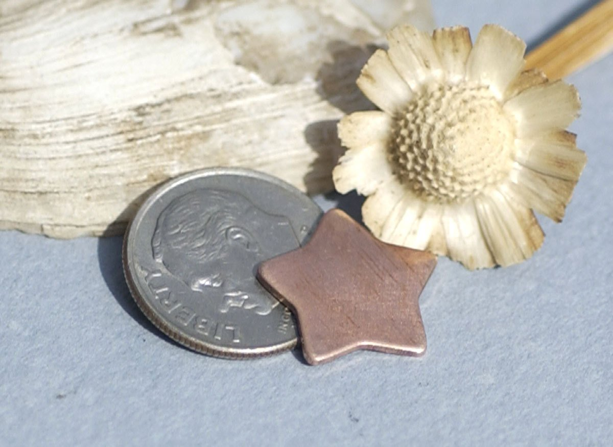 Copper Chubby Star 14.5mm Blanks Cutout Shape for Enameling Stamping Metalwork Texturing - Jewelry Charm