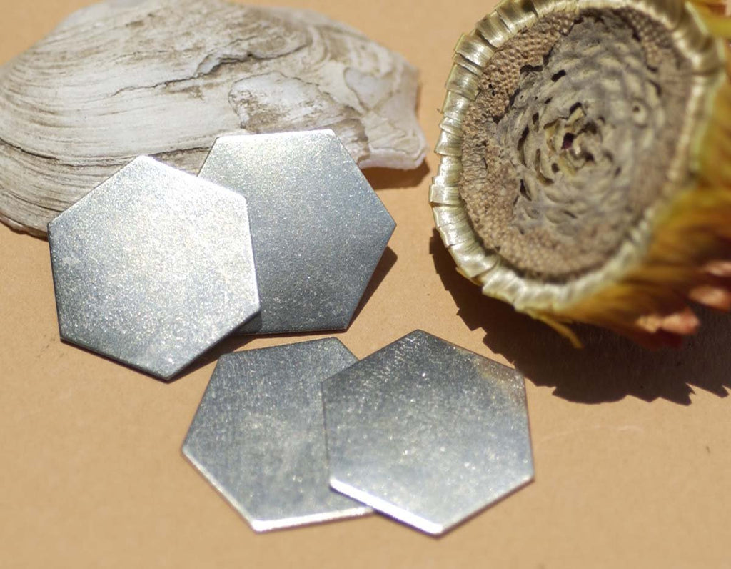 Nickel Silver Blank Hexagon  20g 20mm Metal Blanks Shape Form for Metalworking Texturing