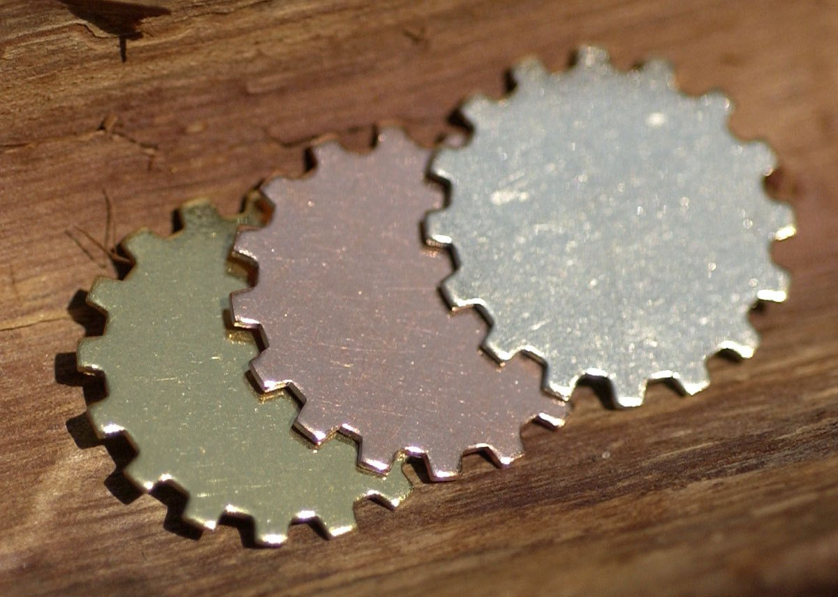 Bronze 12mm Blank Gear Cog Cutout Cutout for Metalworking Stamping  Blanks Texturing