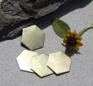 Brass Hexagon 20g 12mm Blanks Cutout for Metalworking Stamping Texturing Blanks - 6 pieces