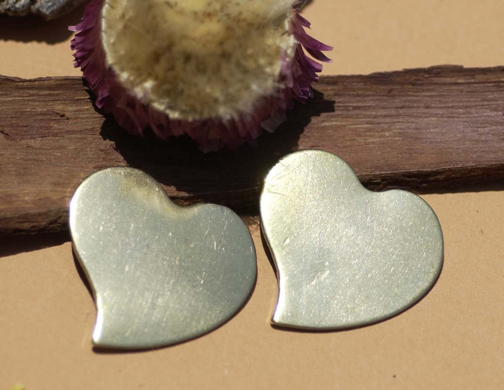 Buy Brass Heart Sweet Whimsy 30mm x 32mm Cutout for Blanks Metalworking Stamping Texturing Blank - 4 pieces online