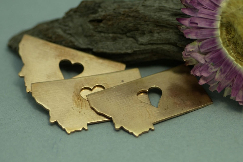 Buy Copper Montana State with Perfect Heart Cute Cutout for Enameling Metalworking Stamping Texturing Soldering, Jewelry Charms online