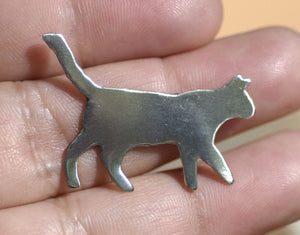 Nickel Silver Cat Hunting for a Mouse Blanks Cutout for Metalworking Stamping Texturing Blank