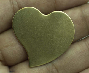 Bronze Blank Heart Whimsy 30mm x 32mm for Stamping Texturing Soldering Shape Charms Jewelry Making Blanks - 4 pieces