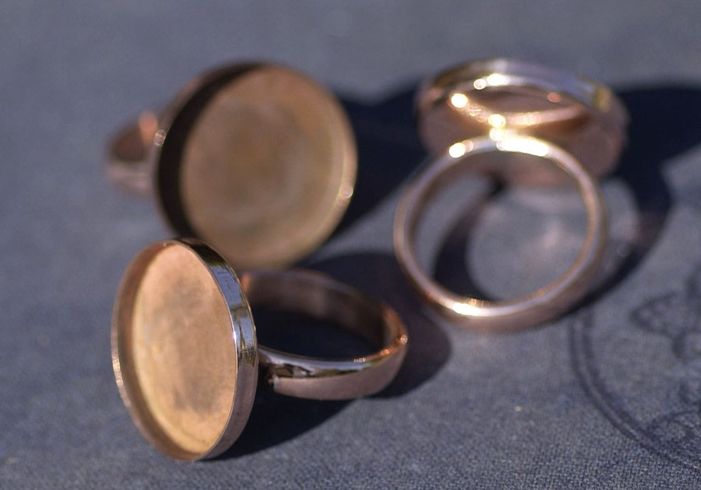 Copper Ring Round Bezel Cup Ring for Resin Gluing or Setting - Size 8
