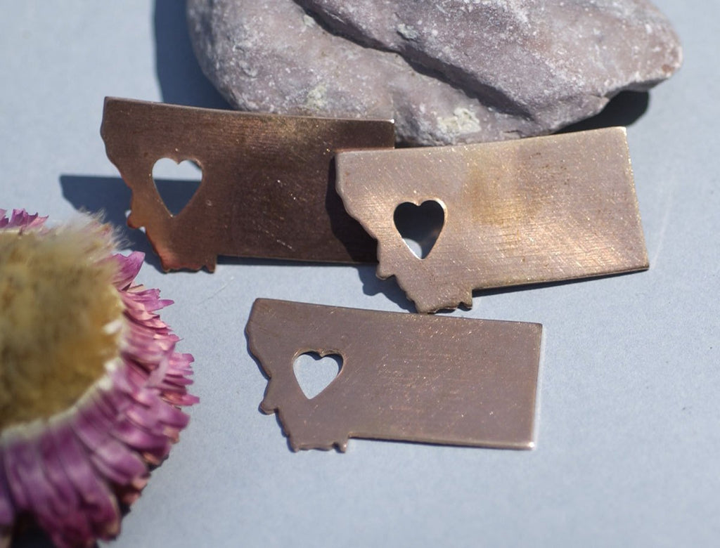 Buy Copper Montana State with Heart Blanks Cutout for Enameling Metalworking Stamping Texturing Copper Blank, Metalworking Supplies - 4 pieces online