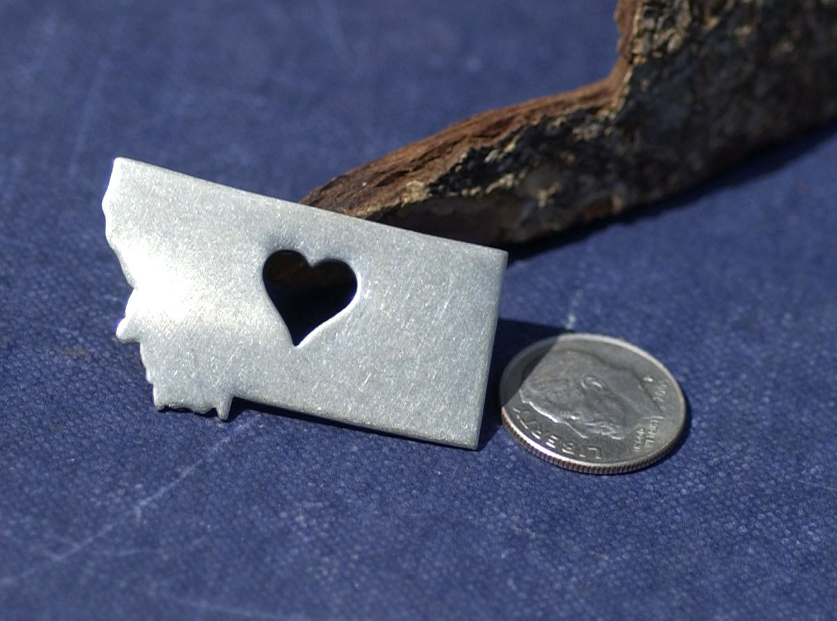 Nickel Silver Montana State with Heart Perfect Cute Blanks Cutout for Metalworking Stamping Texturing Blank