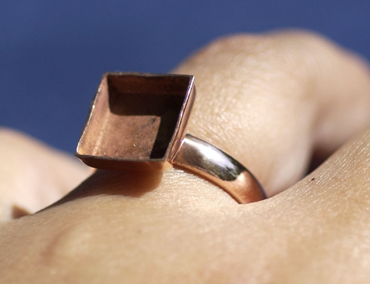 Square Bezel Cup Ring for Resin or Stone Setting