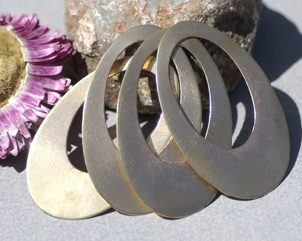 Bronze or Brass Teardrop Hoops 24g Shape Cutout Blank for Stamping, Metalworking, Patinas Blanks - 4 pieces