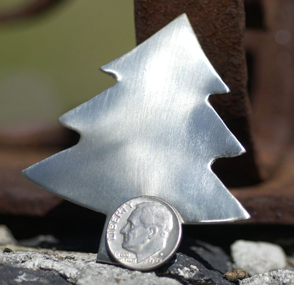 Nickel Silver Blank Large Christmas Tree 62mm x 57mm Metalworking Supply - Jewelry Blank - 2 Pieces