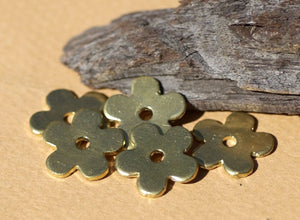 Brass Blank Little Flower 14mm with Center for Metalworking Stamping Texturing Blanks