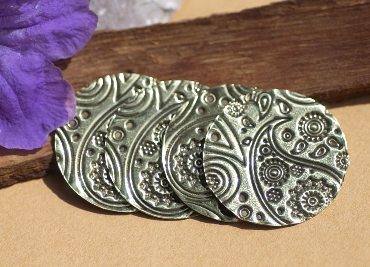 Disc 25mm in Pattern 26G Paisley Metalworking Supplies, Enameling Blank - 4 Pieces