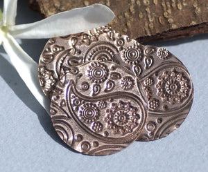 Paisley Copper Disc 25mm 26G Enameling Soldering Stamping Metalworking Blanks - 4 Pieces