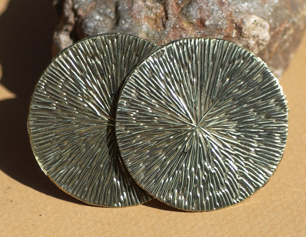 Brass or Bronze 42mm Disc Blanks Radiating Texture, Enameling Soldering Stamping Jewelry Charm - 3 Pieces