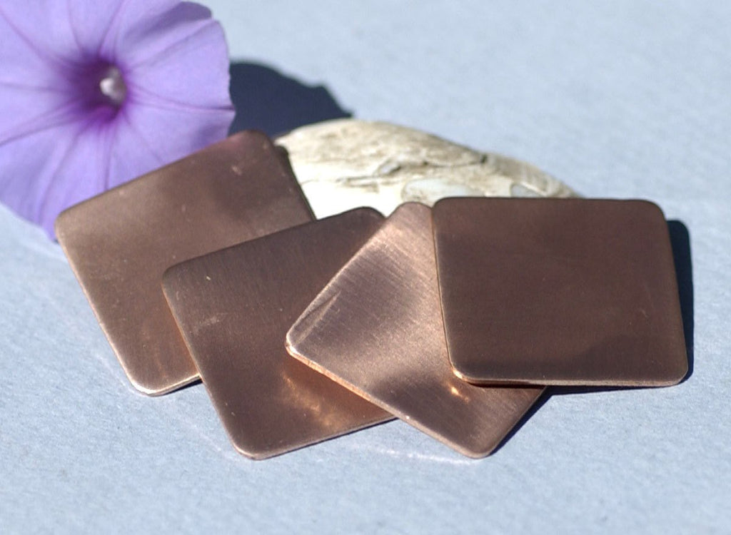 Copper Square Blank Rounded 26mm Cutout for Enameling Stamping Texturing Blanks - 4 pieces