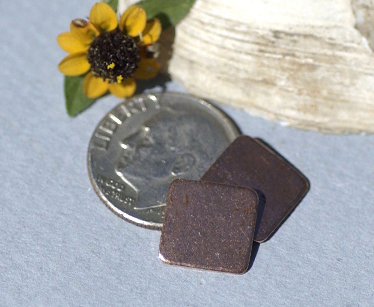 Copper Squares 10mm Rounded Blanks Cutout  for Enameling Stamping Texturing Blanks - 8 pieces