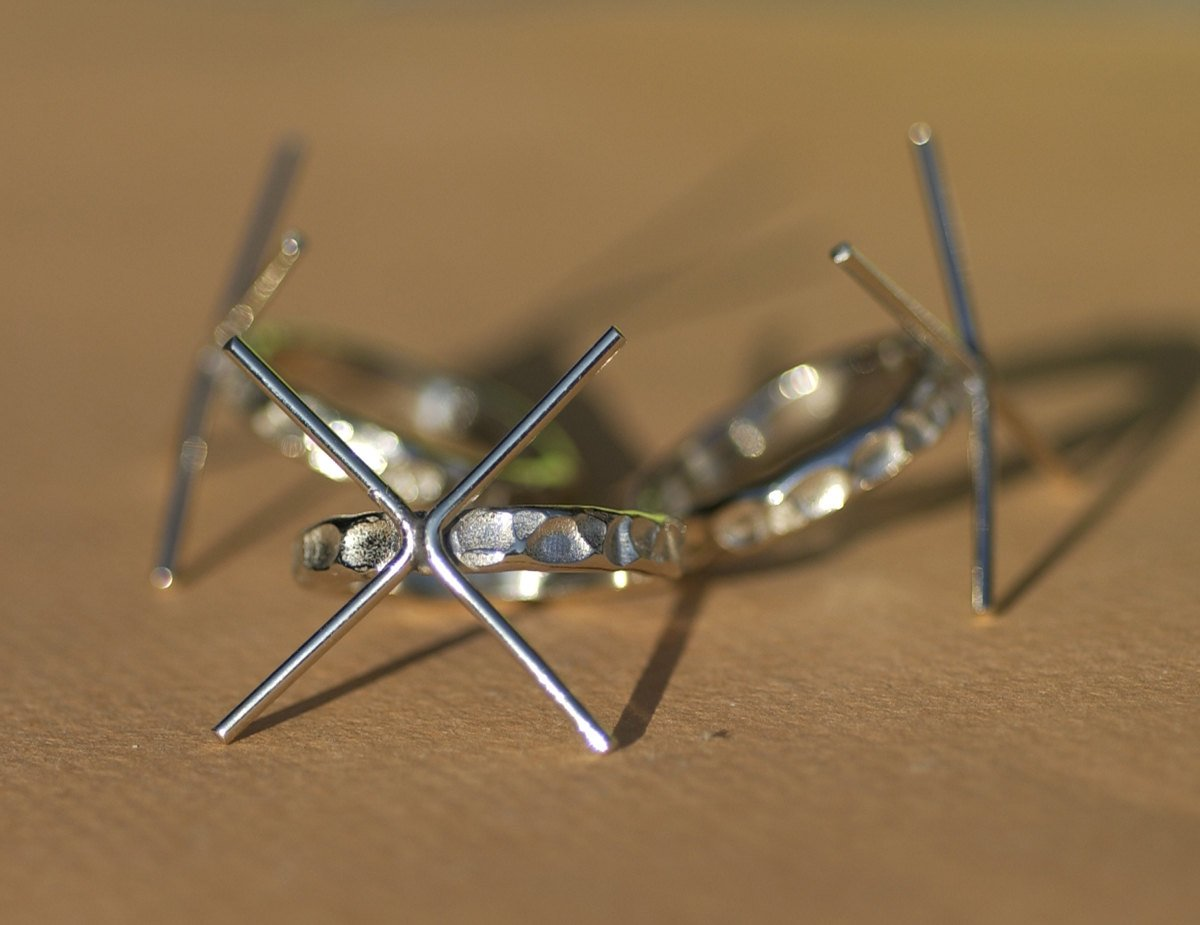 Buy Handmade Claw Ring, Hammered Shank, 4 Prong Setting online