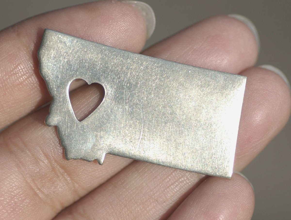 Nickel Silver  Montana with Heart Blanks Metalworking Stamping Texturing 100% Nickel Silver Blank