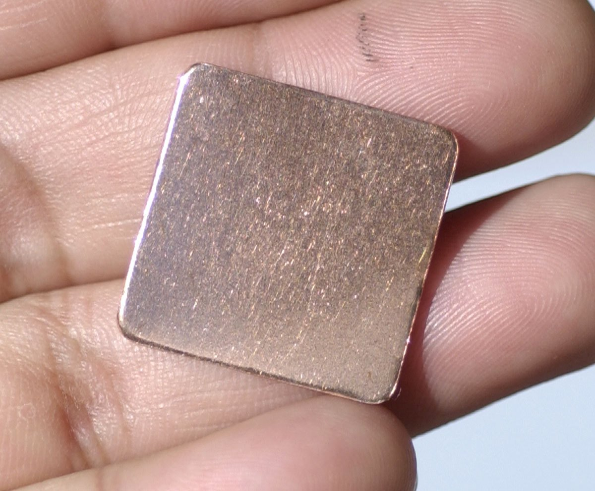 Copper Squares Rounded  Blank 20mm for Enameling Stamping Texturing Metalworking Soldering Blanks - 6 pieces