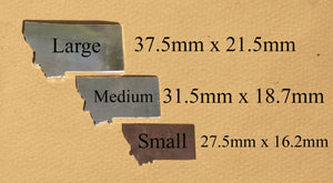 Bronze or Copper or Brass Montana State Small with Star Chubby  Blanks Cutout for Metalworking Stamping Texturing Blank