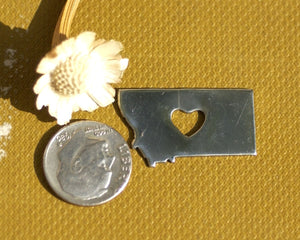 Nickel Silver Montana State Small with Heart Chubby  Blanks Cutout for Metalworking Stamping Texturing Blank