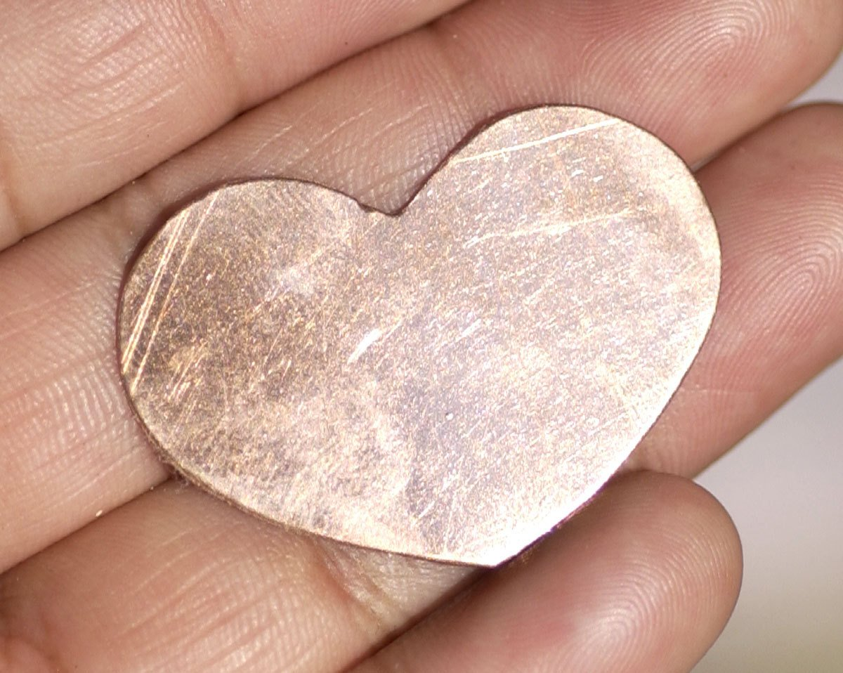 Heart Squatty 35mm x 24mm Blanks Variety of Metals- 6 pieces