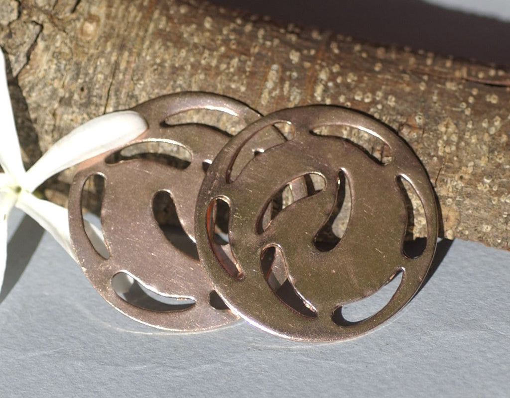 Pendant Blank 42mm 20G Swirly Pendant Piece Cutout for Enameling Soldering Stamping Texturing, Jewelry Supplies - 2 Pieces