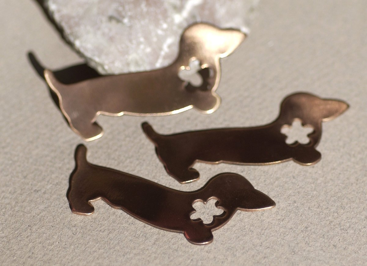 Copper Doxie Dog with Flower Cute for Blanks Enameling Stamping Texturing - 4 pieces