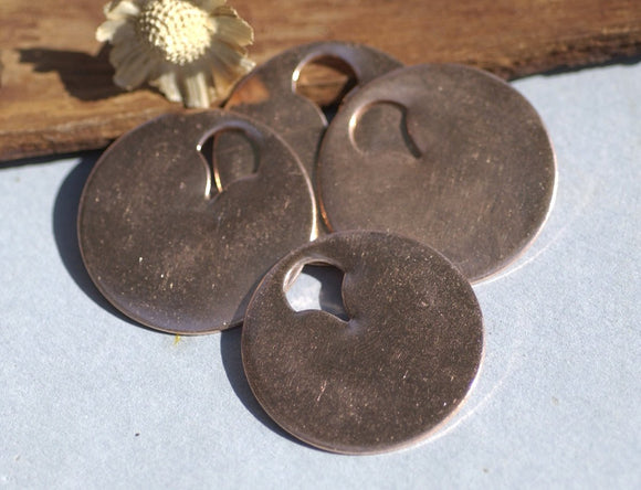 Copper Tag Disc Blank 20G 30mm Cutout, Enameling Stamping Texturing Blanks - 4 Pieces